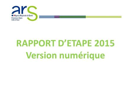 RAPPORT D'ETAPE 2015 Version numérique. PRESENTATION  Nouvelle version du RE version numérique (on-line), type fomulaire / questionnaire (via LimeSurvey)