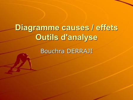 Diagramme causes / effets Outils d'analyse Bouchra DERRAJI.