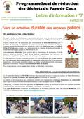 Lettre d'information n°7 Avril 2016 Programme local de réduction des déchets du Pays de Caux Contact : 02 35 56 15 63 ou Site.
