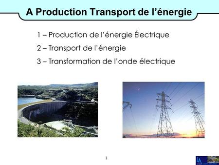 1 A Production Transport de l'énergie 1 – Production de l'énergie Électrique 2 – Transport de l'énergie 3 – Transformation de l'onde électrique.