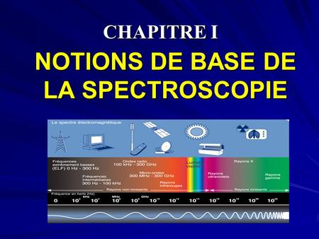 CHAPITRE I NOTIONS DE BASE DE LA SPECTROSCOPIE. I – INTRODUCTION I – INTRODUCTION La spectroscopie est l'ensemble des techniques qui permettent d'analyser.