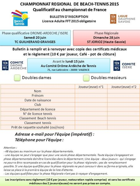 CHAMPIONNAT REGIONAL DE BEACH-TENNIS 2015 Qualificatif au championnat de France BULLETIN D'INSCRIPTION Licence Adulte FFT 2015 obligatoire Phase qualificative.