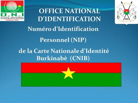 Numéro d'Identification Personnel (NIP) de la Carte Nationale d'Identité Burkinabè (CNIB) OFFICE NATIONAL D'IDENTIFICATION.