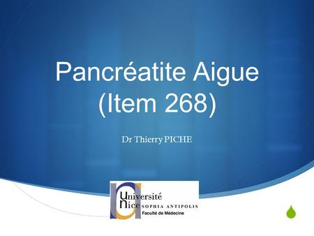 Pancréatite Aigue (Item 268)