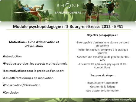 Motivation – Fiche d'observation et d'évaluation Version actualisée le 02/10/12  Introduction Introduction  Pratique sportive : les aspects motivationnels.