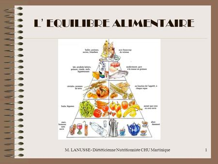 L' EQUILIBRE ALIMENTAIRE