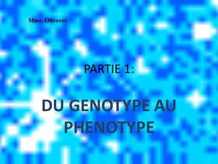 DU GENOTYPE AU PHENOTYPE