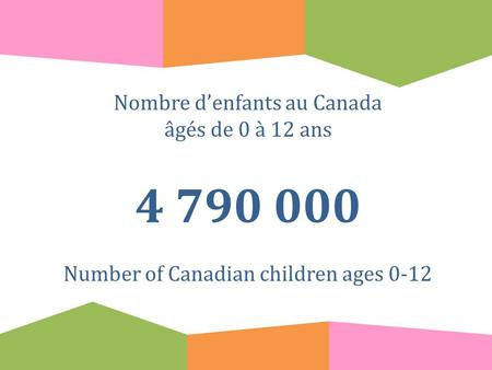 Nombre d'enfants au Canada âgés de 0 à 12 ans 4 790 000 Number of Canadian children ages 0-12.