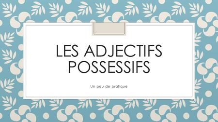 LES ADJECTIFS POSSESSIFS Un peu de pratique. Comment s'appelle ton oncle? Mon oncle s'appelle ______.