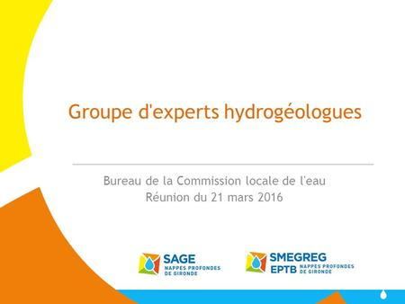 Groupe d'experts hydrogéologues Bureau de la Commission locale de l'eau Réunion du 21 mars 2016.