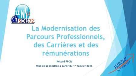 Accord PPCR Mise en application à partir du 1er janvier 2016