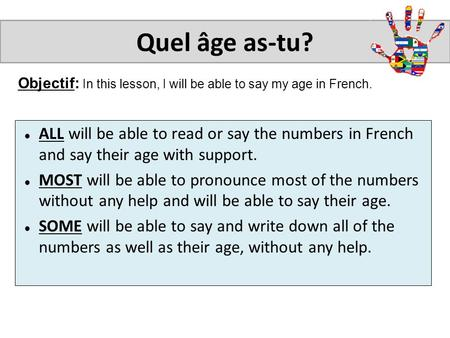 Objectif: In this lesson, I will be able to say my age in French. Quel âge as-tu? ALL will be able to read or say the numbers in French and say their age.