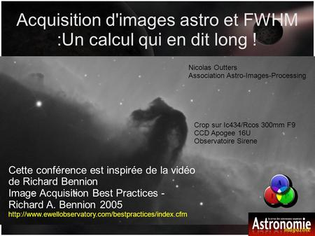 Acquisition d'images astro et FWHM :Un calcul qui en dit long !