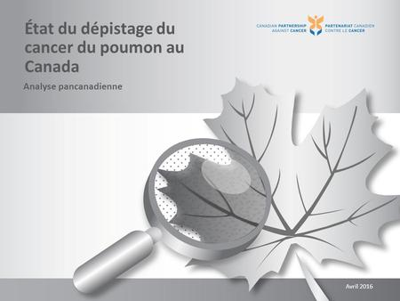 État du dépistage du cancer du poumon au Canada Analyse pancanadienne Avril 2016.