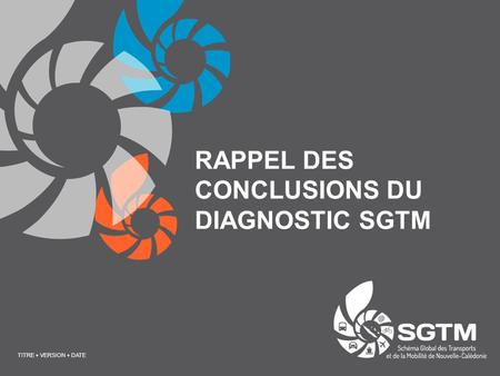 RAPPEL DES CONCLUSIONS DU DIAGNOSTIC SGTM TITRE + VERSION + DATE.
