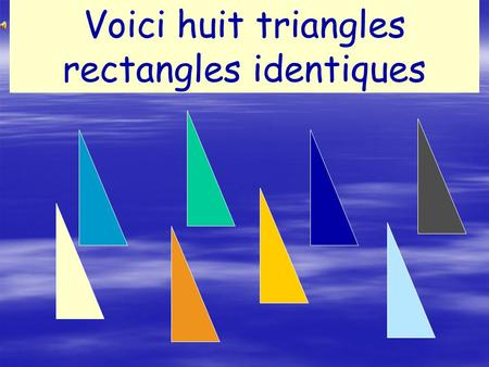 Voici huit triangles rectangles identiques.
