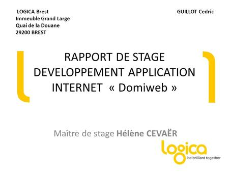 RAPPORT DE STAGE DEVELOPPEMENT APPLICATION INTERNET « Domiweb » Maître de stage Hélène CEVAËR LOGICA Brest Immeuble Grand Large Quai de la Douane 29200.