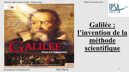 Galilée : l'invention de la méthode scientifique