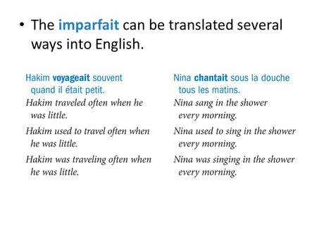 The imparfait can be translated several ways into English.