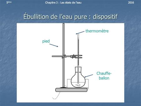Ébullition de l'eau pure : dispositif