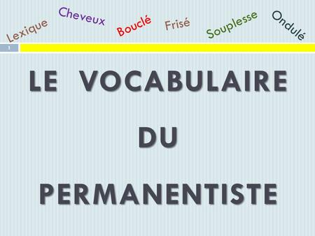 LE VOCABULAIRE DU PERMANENTISTE