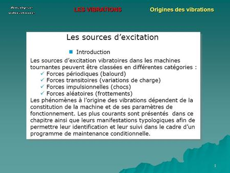 1 LES VIBRATIONS Origines des vibrations. 2 LES VIBRATIONS Origines des vibrations.