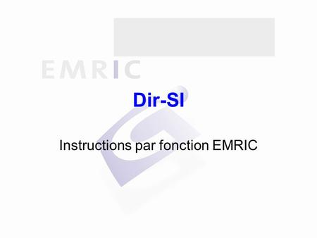 Dir-SI Instructions par fonction EMRIC. Sommaire Généralités Indications d'intervention Alerte Réception des secours Intervention Informations Remboursement.