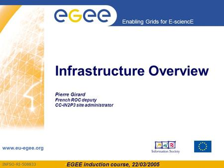 EGEE induction course, 22/03/2005 INFSO-RI-508833 Enabling Grids for E-sciencE www.eu-egee.org Infrastructure Overview Pierre Girard French ROC deputy.
