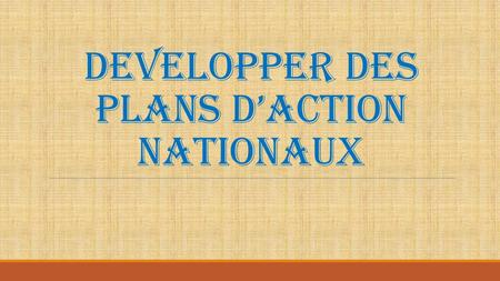 DEVELOPPER DES PLANS D'ACTION NATIONAUX
