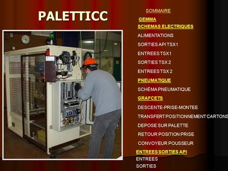 PALETTICC SOMMAIRE SCHEMAS ELECTRIQUES ALIMENTATIONS SORTIES API TSX1 ENTREES TSX1 SORTIES TSX 2 ENTREES TSX 2 PNEUMATIQUE SCHÉMA PNEUMATIQUE GRAFCETS.