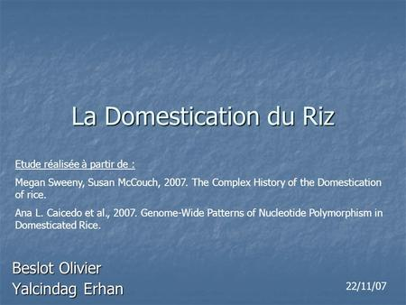 La Domestication du Riz