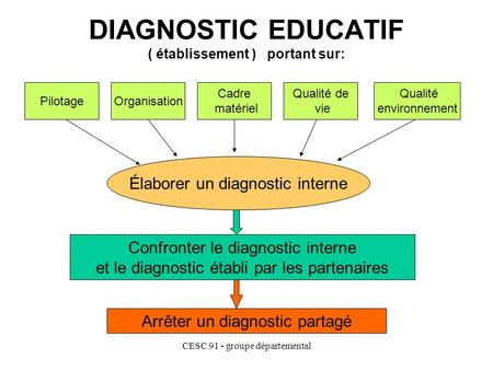 CESC 91 - groupe départemental DIAGNOSTIC EDUCATIF ( établissement ) portant sur: PilotageOrganisation Cadre matériel Qualité de vie Qualité environnement.