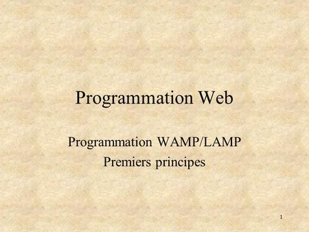 1 Programmation Web Programmation WAMP/LAMP Premiers principes.