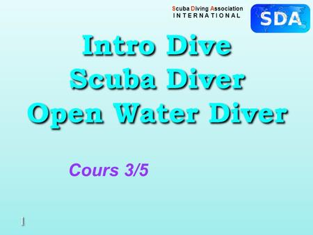 Scuba Diving Association I N T E R N A T I O N A L Intro Dive Scuba Diver Open Water Diver 1 1 Cours 3/5.
