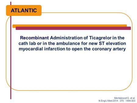 Recombinant Administration of Ticagrelor in the cath lab or in the ambulance for new ST elevation myocardial infarction to open the coronary artery ATLANTIC.