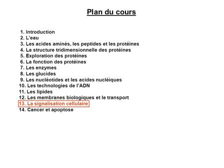 Plan du cours 1. Introduction 2. L'eau