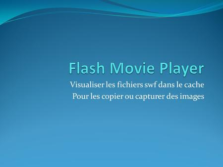 Flash Movie Player Visualiser les fichiers swf dans le cache