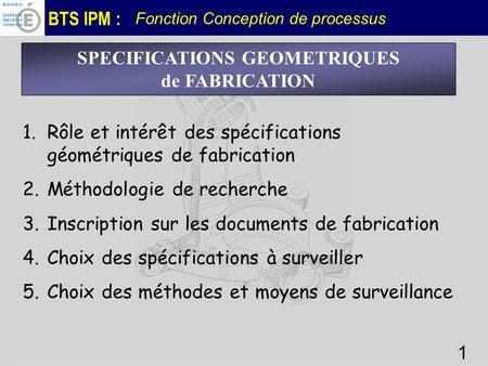 SPECIFICATIONS GEOMETRIQUES
