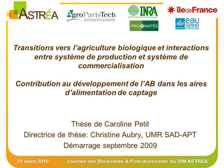31 mars 2010Journée des Doctorants & Post-doctorants du DIM ASTREA Transitions vers lagriculture biologique et interactions entre système de production.
