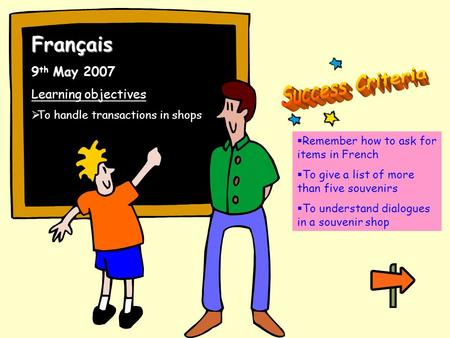 Français 9 th May 2007 Learning objectives To handle transactions in shops Remember how to ask for items in French To give a list of more than five souvenirs.