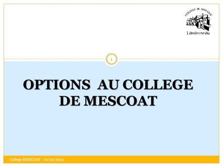 OPTIONS AU COLLEGE DE MESCOAT 1 College MESCOAT - 10/04/2014.