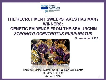 THE RECRUITMENT SWEEPSTAKES HAS MANY WINNERS: GENETIC EVIDENCE FROM THE SEA URCHIN STRONGYLOCENTROTUS PURPURATUS Flowers et al. 2002. Boulotte Nadine,