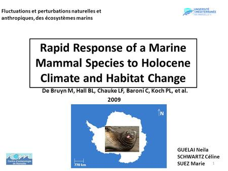 Rapid Response of a Marine Mammal Species to Holocene Climate and Habitat Change De Bruyn M, Hall BL, Chauke LF, Baroni C, Koch PL, et al. 2009 Fluctuations.