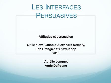 Les Interfaces Persuasives