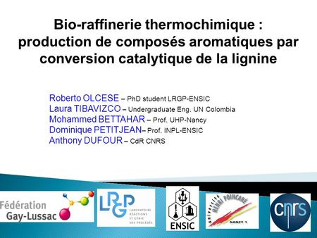 Bio-raffinerie thermochimique : production de composés aromatiques par conversion catalytique de la lignine Roberto OLCESE – PhD student LRGP-ENSIC Laura.
