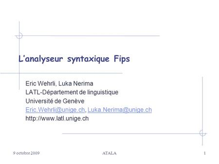 L'analyseur syntaxique Fips