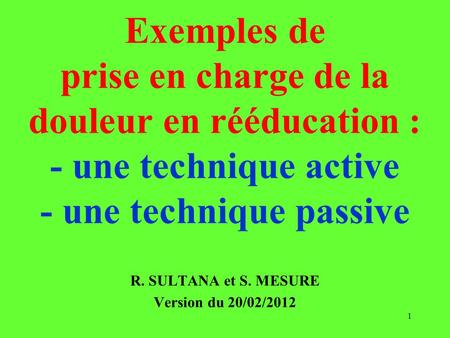 R. SULTANA et S. MESURE Version du 20/02/2012