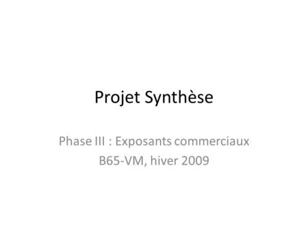 Projet Synthèse Phase III : Exposants commerciaux B65-VM, hiver 2009.
