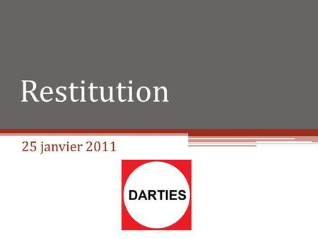 Restitution 25 janvier 2011. Plan I.Introduction II.Application III.Récapitulatifs I.Problèmes rencontrés II.Plan daction IV.Plan daction 2 Projet DARTIES.