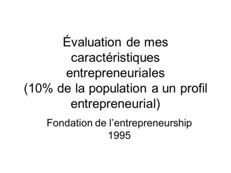 Fondation de l'entrepreneurship 1995